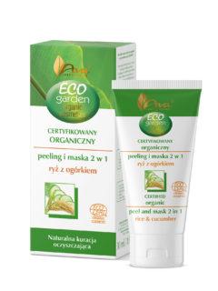 ECO GARDEN Certyfikowany organiczny peeling i maska 2 w 1 z ryżem i ekstraktem z ogórka